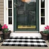 Gracie Oaks Buffalo Checkered Cotton Carpet Washable Hand-Woven Checkered Doormat Vintage Farmhouse Rug,Cozy Carpet | Wayfair