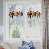 Bloomsbury Market Stained Glass Panel Birds Window Hanging Handmade Tiffany Suncatcher Home Decor (W22.1 X H12.8 Inch) in Orange | Wayfair