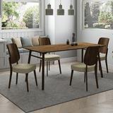 Corrigan Studio® Abdur-Rahmaan Dining Set Wood/Upholstered Chairs in Brown, Size 29.6 H in | Wayfair 5AAFF402DA9D43378686DE45E845D398