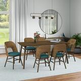 Corrigan Studio® Abdur-Rahmaan Mid-Century Modern 7-Piece Rectangular Dining Set in Brown, Size 29.6 H in | Wayfair