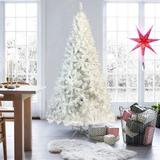 The Holiday Aisle® 7.4 Ft National Christmas Tree White Hinged Spruce Full Tree, w/ 500 LED Lights in White/Yellow, Size 88.6 H x 45.3 W in | Wayfair
