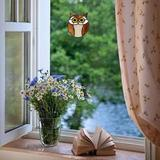 Loon Peak® Stained Glass Owl Made From Many Pieces Of Stained Glass in Brown, Size 4.5 H x 5.1 W x 0.0394 D in | Wayfair