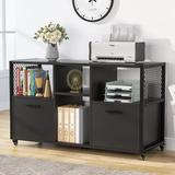 Latitude Run® 2 Drawer Wood File Cabinets, Modern Mobile Lateral Filing Cabinet For Letter/A4 Size in Black, Size 25.98 H x 43.31 W x 15.74 D in