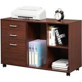 Latitude Run® 39 Inches Wooden File Cabinet For Home Office, Printer Stand w/ Storage(3-Drawer), Mobile Lateral Filing Cabinet w/ Wheels in Red