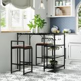 17 Stories Counter Height 3-Piece Bar Dining Set Table w/ 3-Tier Storage Shelves/Glass Holders/Wine Racks & 2 Upholstered Bar Stoolsfor Small Places