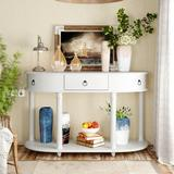 Longshore Tides Curved Half Moon Console Table w/ 1 Drawer, Antique Wood in White, Size 30.0 H x 48.0 W x 16.0 D in | Wayfair