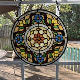 """Bloomsbury Market Lio'S Tiffany Style Stained Glass Window Hangings X-Large Round 15"""" Diameter Handmade Decor Panel 