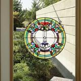 """Canora Grey Stained Glass Window Hangings Gorgerous Victorian Tiffany Glass Window Panel Suncatchers For Home Decor 16"""" Wide By 16"""" Height in Green"""