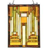 "Canora Grey Stained Glass Window Hangings 24.5""X17.5"" Handmade Classic Abstract Art Tiffany Style Suncatcher Windows Panels in Orange | Wayfair"
