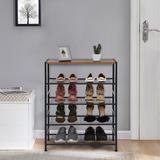 17 Stories 5-Tier Shoe Rack Industrial Shoe Bench For Entryway Shoe Storage Organizer Rack in Black, Size 31.5 H x 25.6 W x 13.8 D in   Wayfair