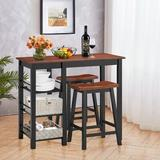 17 Stories 3 Pcs Dining Table Set Counter Height Dining Set w/ 3-tier Storage Shelf&2 Saddle Stools Walnut Wood in Black/Brown, Size 36.0 H in