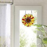 "Bloomsbury Market Stained Glass Window Hangings 10.6""×10.8"" Handmade Sunflower Window Panel Suncatchers Hanging Art Home Decor in Yellow | Wayfair"