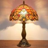 """Bloomsbury Market Tiffany Lamp Red Liaison Stained Glass Bedside Table Lamp Antique Desk Reading Light 18"""" Tall Living Room Bedroom Vintage Traditional Boho Victorian M Glass/Metal"""
