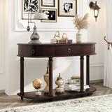 Longshore Tides Curved Half Moon Console Table w/ 1 Drawer, Antique White Wood in Brown, Size 30.0 H x 48.0 W x 16.0 D in | Wayfair
