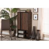 Baxton Studio Raina Modern and Contemporary Two-Tone Walnut Brown and Black Finished Wood 2-Door Shoe Storage Cabinet - Wholesale Interiors SESC70140WI-Columbia/Black-Shoe Cabinet