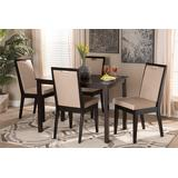 Baxton Studio Rosa Modern and Contemporary Sand Fabric Upholstered and Dark Brown Finished Wood 5-Piece Dining Set - Wholesale Interiors Rosa-Sand/Dark Brown-5PC Dining Set