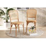 Baxton Studio Neah Mid-Century Modern Brown Woven Rattan and Wood 2-Piece Cane Dining Chair Set - Wholesale Interiors B29-Natural Wood-Beechwood/Rattan-DC