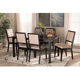 Baxton Studio Suvi Modern and Contemporary Sand Fabric Upholstered and Dark Brown Finished Wood 7-Piece Dining Set - Wholesale Interiors Suvi-Sand/Dark Brown-7PC Dining Set