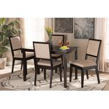 Baxton Studio Suvi Modern and Contemporary Sand Fabric Upholstered and Dark Brown Finished Wood 5-Piece Dining Set - Wholesale Interiors Suvi-Sand/Dark Brown-5PC Dining Set