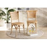 Baxton Studio Fields Mid-Century Modern Brown Woven Rattan and Wood 2-Piece Cane Dining Chair Set - Wholesale Interiors FC29-Natural Wood-Toona wood/Rattan-DC