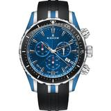 Chronograph Quartz Blue Dial Watch 357bu Buin - Blue - Edox Watches