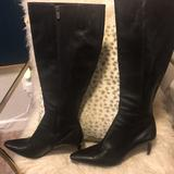 Coach Shoes | Knee High Black Leather Coach Boots With 3 Inch Kitten Heel. Size 11m . | Color: Black | Size: 11