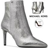 Michael Kors Shoes | Michael Kors Dorothy Flex Leather Pointed Toe Ankle Metallic Silver Snake Heel 8 | Color: Silver | Size: 8