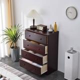 Better Home Products Isabela Solid Pine Wood 4 Drawer Chest Dresser in Mahogany - Better Home Products PineChest-4D-Mgy