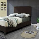 Better Home Products Faux Leather Upholstered Twin Panel Platform Bed in Tobacco - Better Home Products 616859965751
