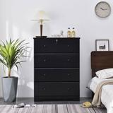 Better Home Products Isabela Solid Pine Wood 4 Drawer Chest Dresser in Black - Better Home Products PineChest-4D-Blk