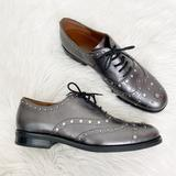 Coach Shoes | Coach Tegan Oxford Studded Embellished Metallic Loafers Shoes Sz 10 | Color: Silver | Size: 10