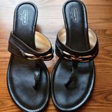 Coach Shoes | Coach | Black Wedge Thong Sandals, Sz 9.5 | Color: Black/Silver | Size: 9.5