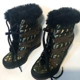 Jessica Simpson Shoes | Jessica Simpson Olive Green And Black Womens Brixel Wedge Boots | Color: Black/Green | Size: 6
