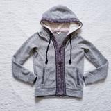 American Eagle Outfitters Tops | Aeo Sherpa Lined Hood Hoodie Tribal Sweatshirt Xs | Color: Gray/Purple | Size: Xs