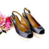 Coach Shoes | Coach Ferry Gunmetal Peep Toe Slingback Espadrille Wedge Sandals Size 6 | Color: Gray | Size: 6