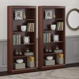 Bei Fu Saratoga Tall 5 Shelf Bookcase - Set Of 2, 30W, Harvest Cherry Wood in Brown/Red, Size 71.65 H x 29.88 W x 12.6 D in | Wayfair