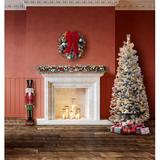 """Haute Decor 77"""" H Pine Flocked Christmas Tree w/ 300 LED Lights in White, Size 77.0 H x 32.0 W in 