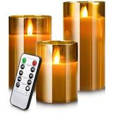 IMAGINATION Led Flameless Candles, Battery Operated Real Pillar Wax Flickering Moving Wick Effect Glass Candle Set w/ Remote Control Cycling Timer