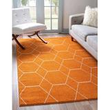 Corrigan Studio® Aayu Frieze Collection Lattice Moroccan Geometric Modern Area Rug in Orange/White, Size 96.0 W x 0.33 D in | Wayfair