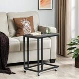 17 Stories End Table, Side Table, Tv Tray, C Shaped Snack Table w/ Metal Frame, Rolling Casters, Industrial, For Living Room, Bedroom in Gray