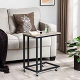 17 Stories End Table, Side Table, Tv Tray, C Shaped Snack Table w/ Metal Frame, Rolling Casters, Industrial, For Living Room, Bedroom in White