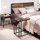 17 Stories End Table, Side Table, Tv Tray, C Shaped Snack Table w/ Metal Frame, Rolling Casters, Industrial, For Living Room, Bedroom in Brown