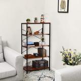 17 Stories 5 Shelf Bookcase, Tall Bookshelf Industrial Style Bookshelves Vintage Standing Storage Shelf Units Wood in Brown | Wayfair