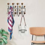 17 Stories Wall-Mounted Coat Rack Multiple Candy Hook Hat & Coat Wall Hanger Walnut Home Wood/Metal in Black/Brown/Gray | Wayfair