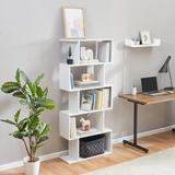 Loon Peak® 5-Tier Bookshelf Free Standing Wood Bookcase, S-Shaped 5 Shelves Book Case For Home Office (Rustic Brown) Wood in White, Size 62.6 H in