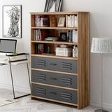 Williston Forge Bookshelf w/ Drawers,Bookcase w/ Drawers,Bookshelves Storage Display Cabinet in Brown, Size 59.8 H x 38.0 W x 13.8 D in | Wayfair