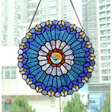 Bloomsbury Market 12 Inch Round Stained Glass Window Panel Tiffany Style Ornament Handmade Green Flower Suncatchers For The Windows Or Wall | Wayfair