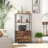 17 Stories Rustic Storage Cabinet, Storage Rack w/ Shelves & Fabric Drawers, Industrial Bookshelf In Living Room, Study, Bedroom, Multifunctional