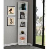 Latitude Run® 5 Tier Corner Bookcase Wooden Display Bookshelf Storage Rack Multipurpose Shelving Unit For Living Room Home Office In White Wood Wood