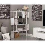Latitude Run® Adriana 4-Shelf Geometric Modern Industrial Etagere Bookcase Bookshelf Shelving Unit () Wood in White | Wayfair